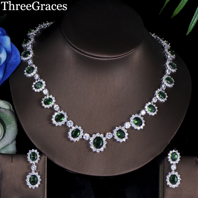 ThreeGraces Gorgeous White Gold Color Full Pave Around Dark Green Oval Shape CZ Stone Big Flower Jewelry Sets For Women JS041