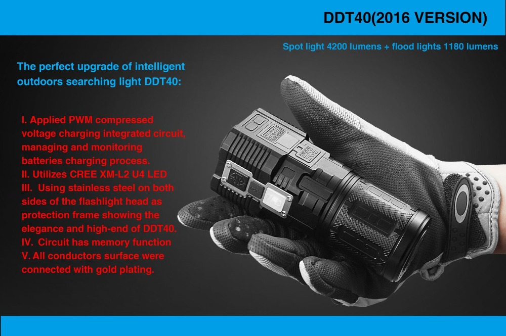 2016 IMALENT DDT40 Cree XM L2 LED Intelligence Touch Led Tactical Flashlight with 5180LM Self Defense new imalent ddt40 oled intelligence touch cree xpl hi led searchlight 4500 lumens flashlight with 4 2600mah 18650 batteries