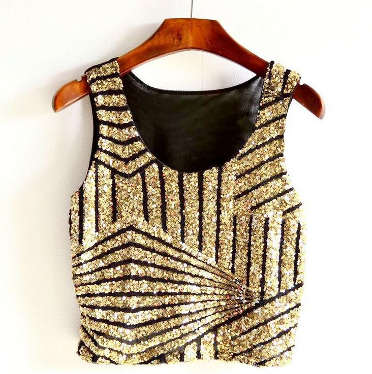 Short-Camis Sequined-Tanks-Tops Bling Women Crop-Tops Club Sexy Sleeveless Show Lady