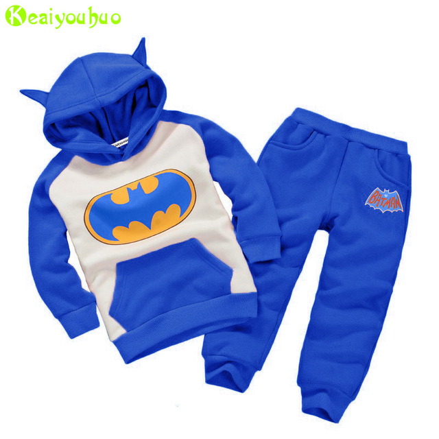 8a7ac0062 KEAIYOUHUO Toddler Boys Clothing Set 2017 Winter Girls Clothes Batman  Hoodies+Pant Kids Sport Suit