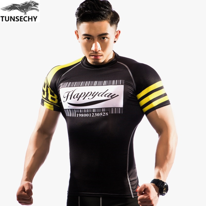TUNSECHY brand boutique man short sleeve T shirt is tight t shirts for font b fitness