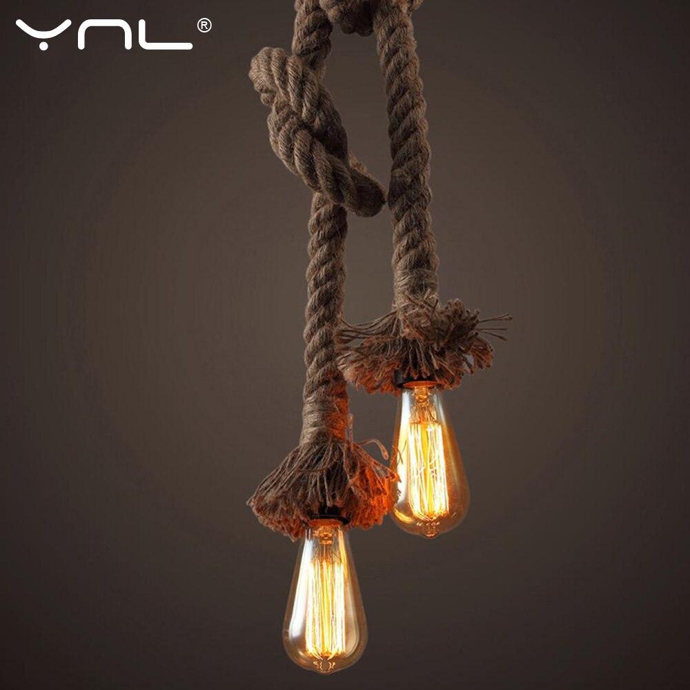 Vintage Hemp RopePendant Light Retro Hanglamp Lamparas AC90-265V E27 Loft Pendant Lamp Edison Bulb Metal