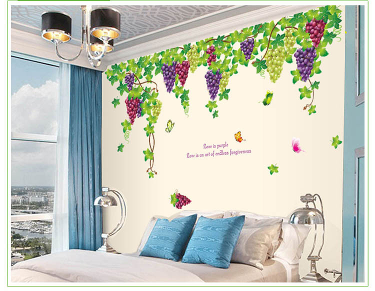 Modern Home Interior Decor Large Size 196x140cm Grapes Vines Wall Stickers Bedroom Decoration Diy Wallpaper Mural