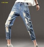 Для женщин упругие талии джинсы Штаны Джинсы Sexy Woman Рваные джинсы для Для женщин печати отверстия кросс Штаны плюс Размеры M 3XL 4XL 5XL 6XL 7XL