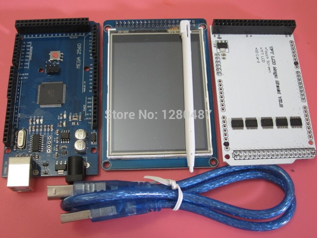 "TIEGOULI 1pair =3pcs 3.2"" TFT LCD Touch + TFT 3.2 inch Shield + Mega 2560 R3 with usb cable kit"