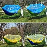 Novo portátil de acampamento mosquito rede náilon hammock ao ar livre pendurado cama dormir balanço