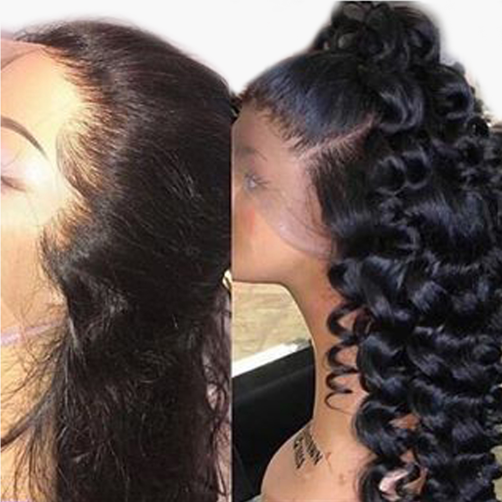 360 Lace Frontal Wig Pre Plucekd With Baby Hair 360 Full Lace Wig Human Hair Wavy Lace Front Wigs Indian Remy Wigs Aimoonsa