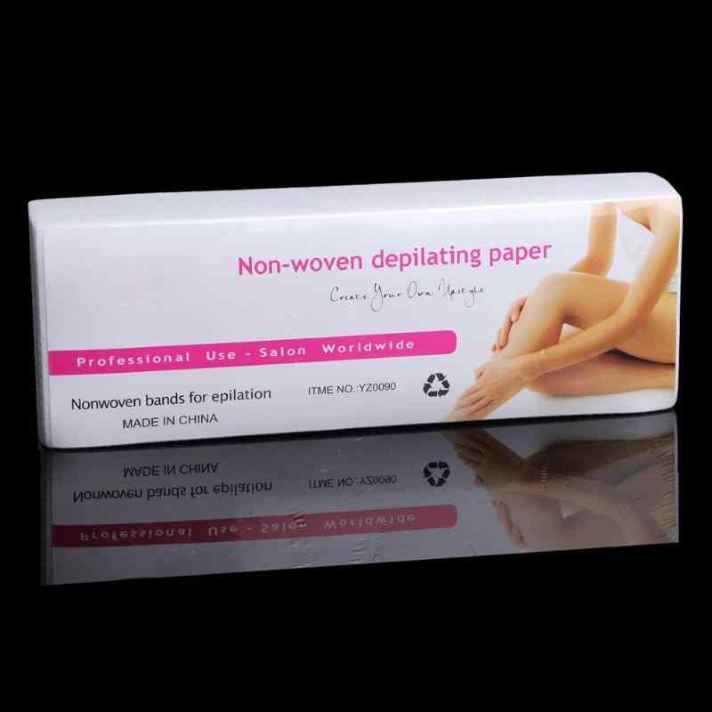 100 adet/torba Epilasyon Epilatör Kaldır Kağıt Ağda Tüy Dökücü Şerit kağıt rulosu Ağda Sağlık Güzellik Pürüzsüz Bacaklar epilasyon için