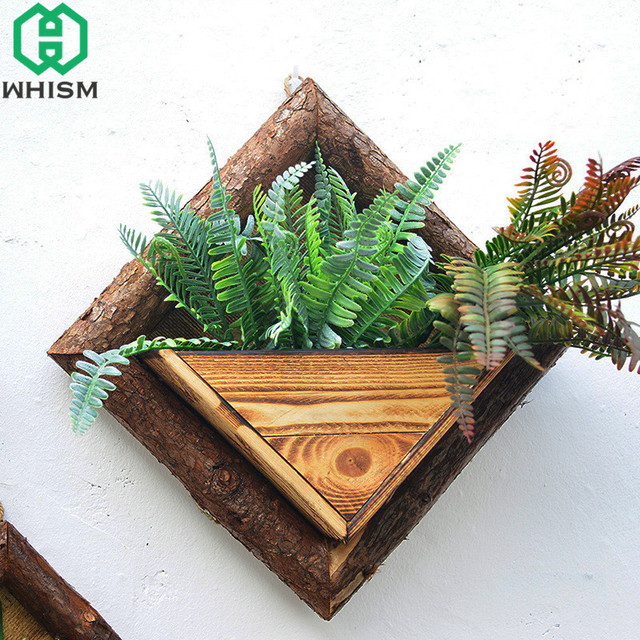 WHISM Hanging Flower Basket Wooden Wall Planter Pastoral Painted Wood Planter Decorative Artificial Flower Pot Home Garden Decor