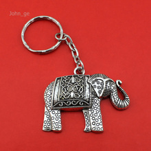 2016 New Hot Selling Women/Men's Fashion Vintage Silver Cool Elephant Key Chains Key Rings Alloy Charms Gifts YSDY126 Wholesale