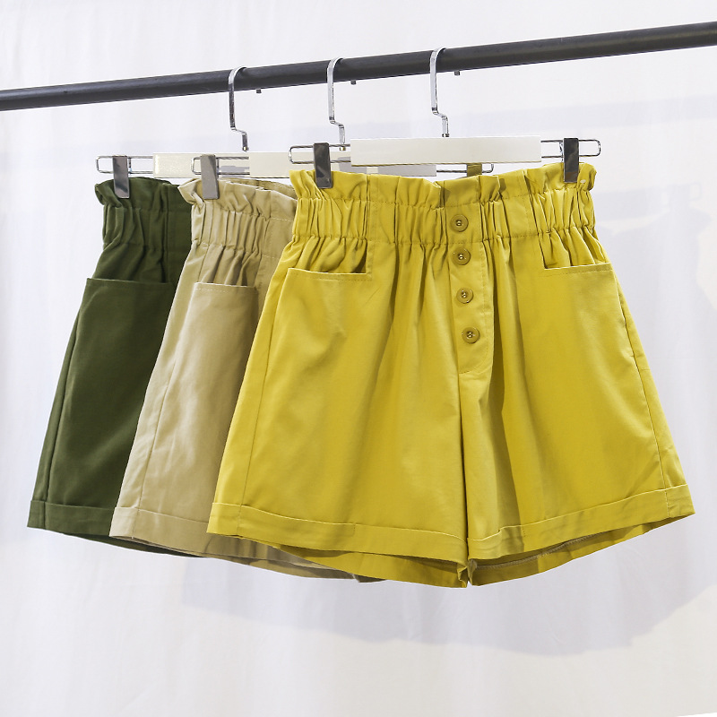 Retro-chic Shorts High-waist Buckle Shorts 2019 Slim Summer Loose Short For Female Elastic High Waisted Shorts Women Yellow