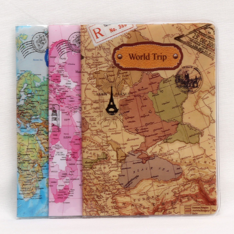 Men 14*10cm PVC Leather Travel Passport Covers Case ID Card Bag World Trip Map Pattern Passport Holder Passport Wallets fashion rabbit and grass pattern 10cm width wacky tie for men