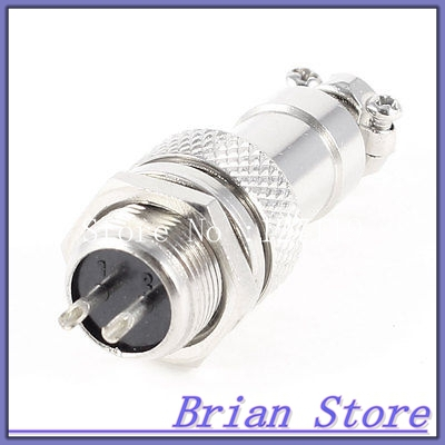 Metal GX12 2 2Pin Male 12mm Screw Type Cable Panel Connector Aviation Plug