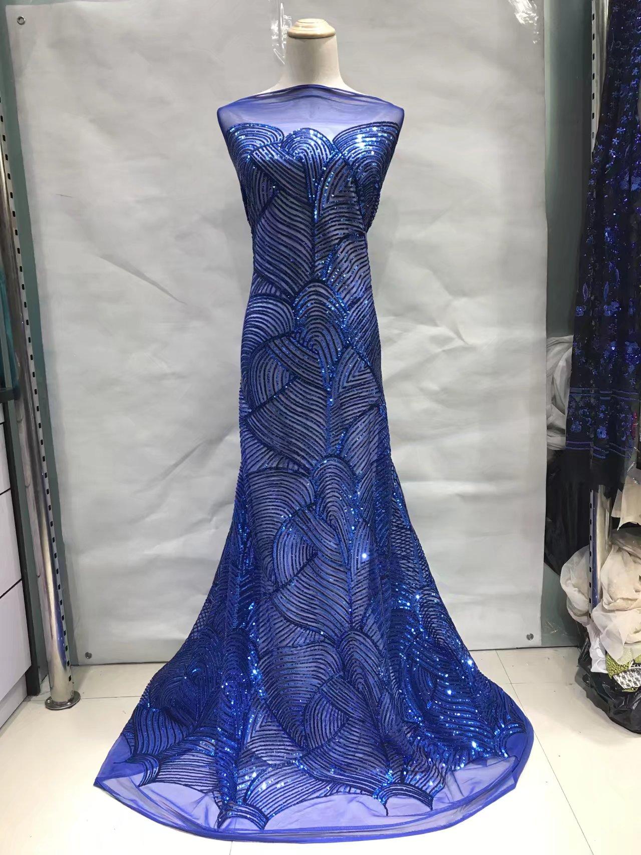 Новое поступление красивые французский Блёстки кружевной ткани Блёстки модные Африки кружевной ткани Королевский синий цвет jl19782