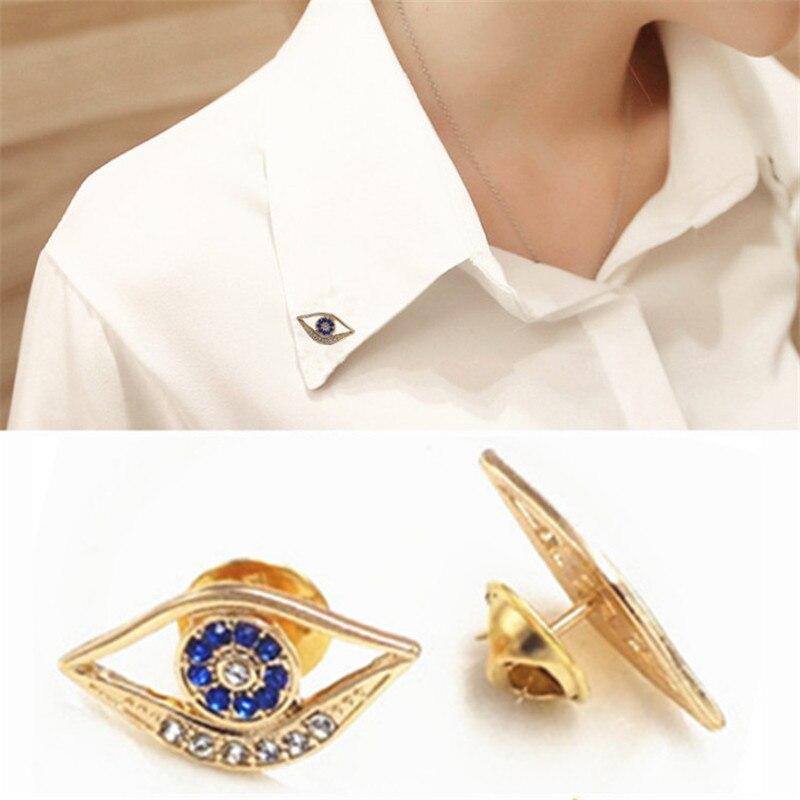 1 пара Шарм Кристалл сглаза безопасный брошь цвет золотистый Pin Up Броши для женщин натальные Jewelry vestidos femininos штыря отворотом