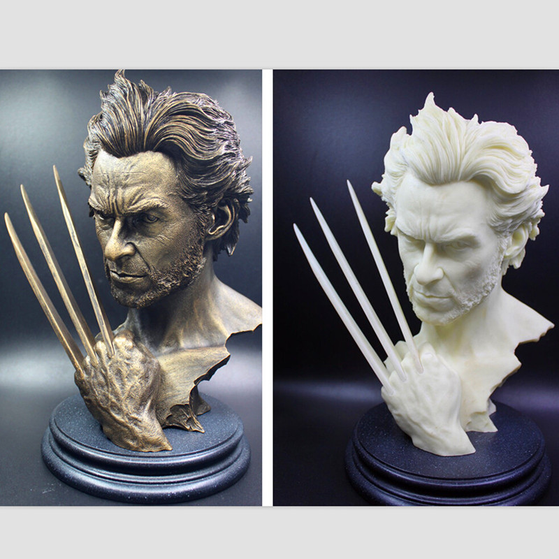 12″30CM Tremendous Hero Wolverine Bust Mode Hugh Jackman Resin Motion Determine Toy Dolls Wolverine Imitation Bronze Bust WU593