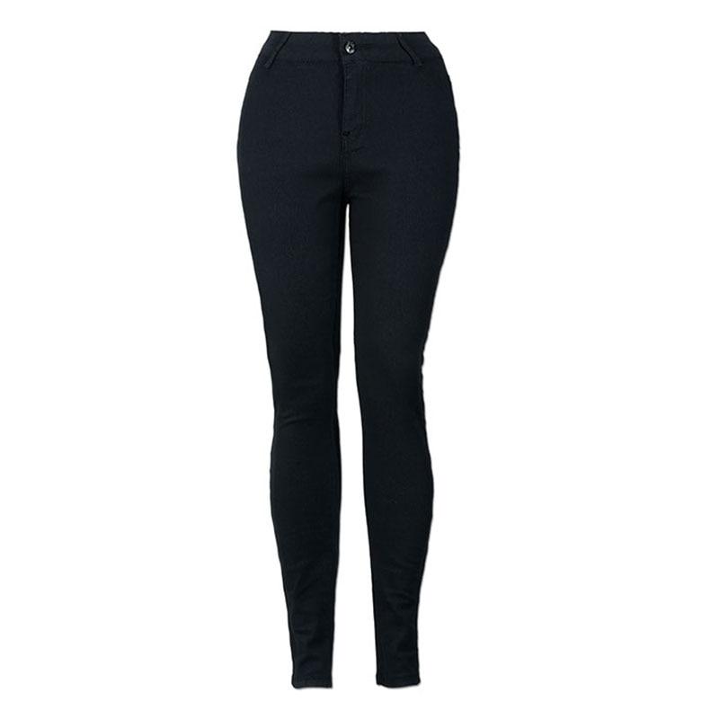 Fashion Skinny Women Long Black Denim Jeans 2017 Hot Selling Mid Waist Leggings Solid color Pencil Pants Woman