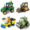 ILUMINAI Série Cidade de Empilhadeira Caminhão de Brinquedo Blocos de Construção Da Cidade Blocos de Construção Compatíveis com Legoe para Presente Das Crianças