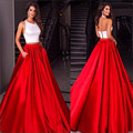 Branco Com Vermelho Simples de Duas Peças Vestidos de Baile 2017 Halter Mangas de Cetim Mulheres Formal Prom Vestido A Linha Do Partido Vestido de Noite