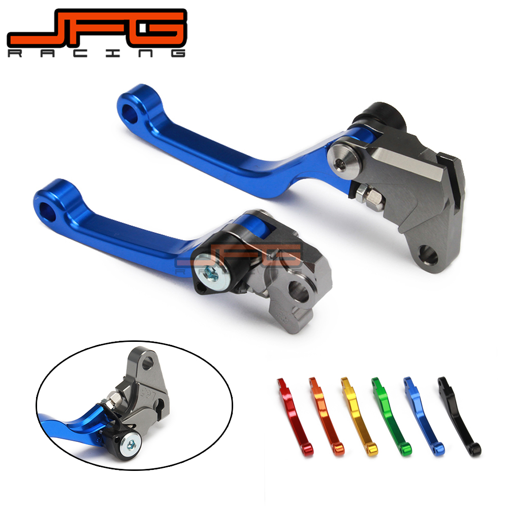 JFG Blue CNC Aluminum Billet Pivot Foldable Brake Clutch Levers For Yamaha WR250F WR450F WRF 250 450 05-15 Motorcycle blue cnc aluminum atv a arm motorcycle brake line clamps for suzuki lt ltr ltz 250 400 450 motor