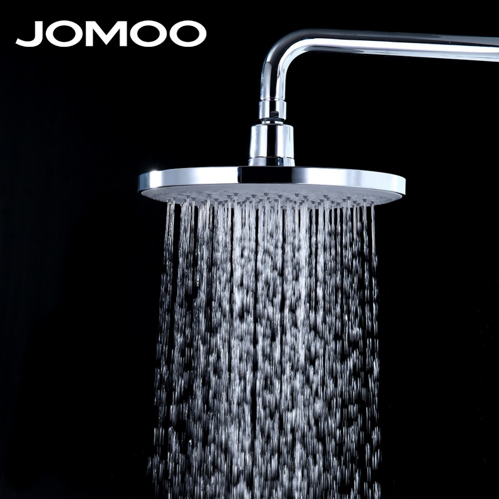 JOMOO Bathroom Rain Shower Head With Arm Wall Mount 10 inch Brass Arm ABS Shower Brass Arm Chrome Shower free shipping wall mount 10 inch stainless steel rain shower head brass shower arm chrome finish