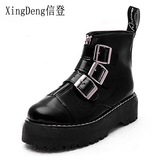 88a65439532 US $11.98 20% OFF|XingDeng Lady Vintage Belt Buckle Knight Boots Women  British Style Punk Martin Boots Girl Fashion Zipper Platform Ankle Shoes-in  ...
