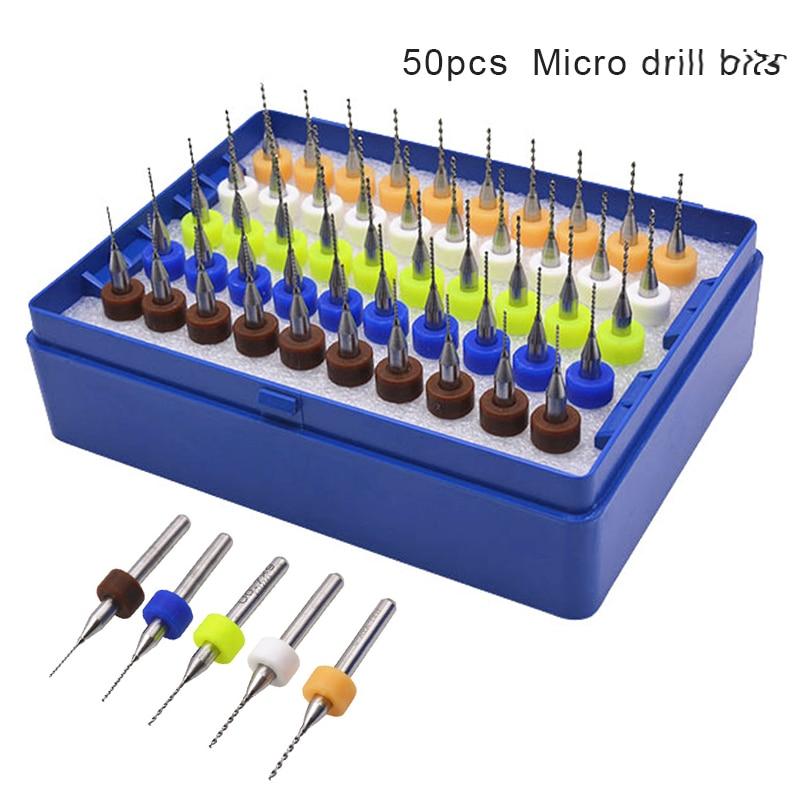 50pcs/set Tungsten Hard Alloy PCB Print Circuit Board Engraving Tool Carbide Micro Drill Bits Tool 0.5mm-0.9mm