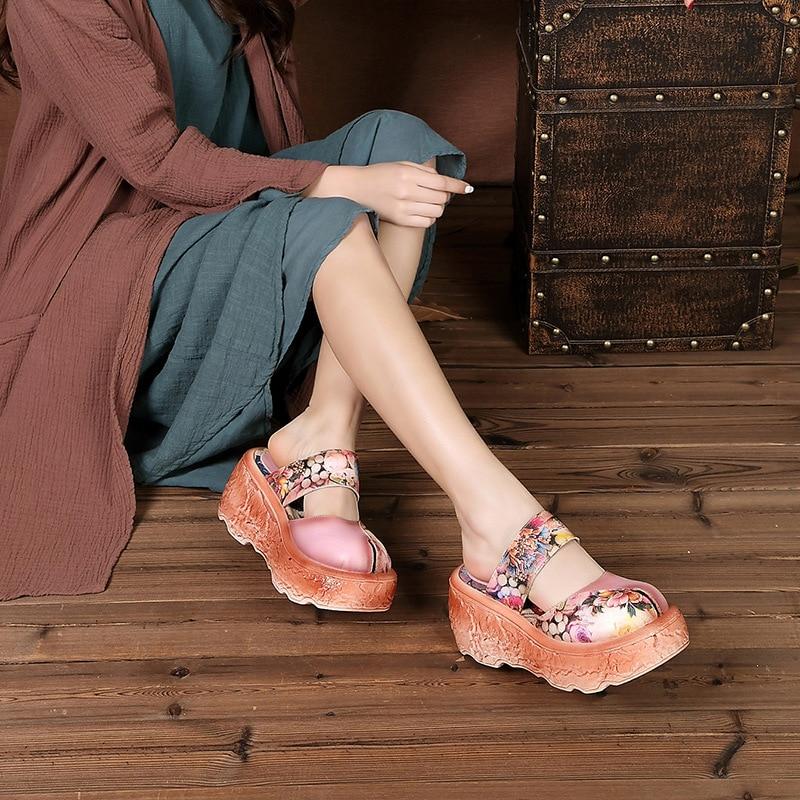 라운드 발가락 메리 제인 스트랩 레트로 민족 신발 꽃 인쇄 세련된 샌들 여름 높이 증가 슬리퍼 플랫폼 신발-에서하이힐부터 신발 의  그룹 2