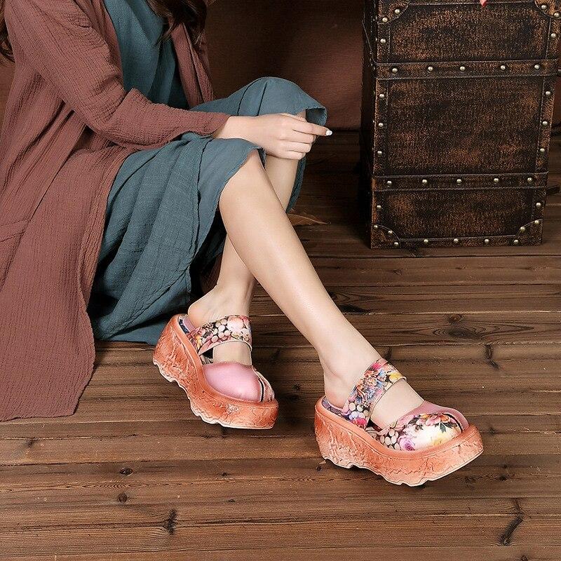 Ronde Neus Mary Janes Band Retro Etnische Schoenen Bloemen Print Chic Sandalen Zomer Hoogte Toenemende Slippers Platform Schoenen-in Hoge Hakken van Schoenen op  Groep 2