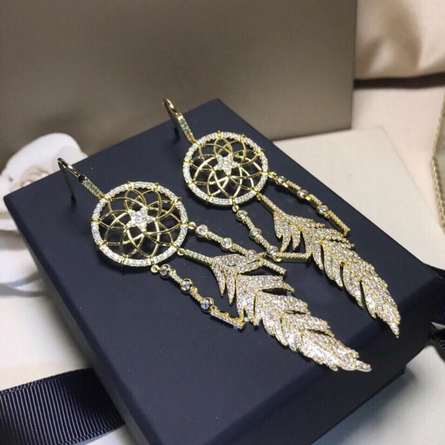 2019 marque cristal attrapeur de rêves longues gland boucles d'oreilles charmes Boho Zircon Dangle boucles d'oreilles pour les femmes de luxe de mode bohême bijoux