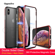 Oppselve Magnetic Phone Case For iPhone XR XS MAX X 8 7 6 6S Plus Double Sided Glass Metal Tempered Magnet Cover Capinhas