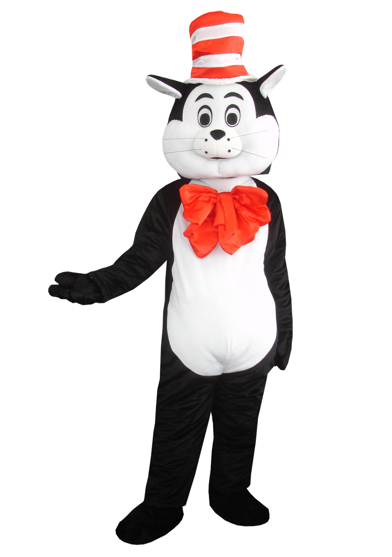 Seuss The Cat in The Hat Mascot Costumes Fancy Dress Halloween Party Adult Size for Halloween party event