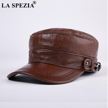 LA SPEZIA Brown Hat military Style Men Genuine Leather Casual Army Male Winter Adjustable Duckbill Caps Classic Flat Top Cap