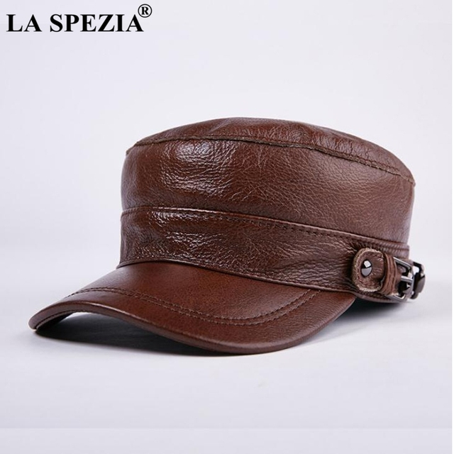 9563eac143c LA SPEZIA Brown Hat military Style Men Genuine Leather Casual Army Hat Male  Winter Adjustable Duckbill