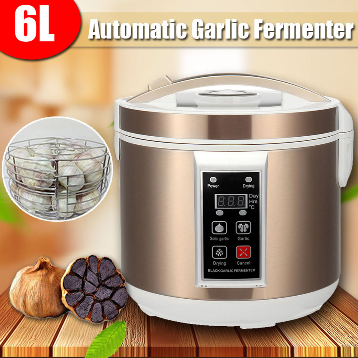 WARMTOO EU/US 220V 6L Large Smart Automatic Black Garlic Fermenter Maker Zymolysis Machine Electric Household Automatic Pot Box