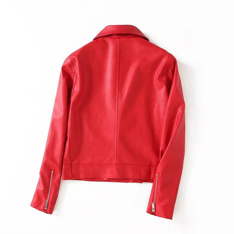 Femmes Printemps Streetwear Cuir En Bomber Veste Mode Parkas Pu Rouge 2018 Moto Minceur Zipper qtZOX