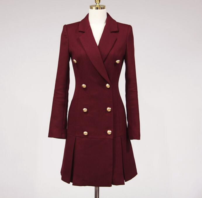 Dress Suits For Women Autumn Winter Elegant Blazer Long Sleeve Jacket Female Ladies Office Wear Double Breasted Dresses