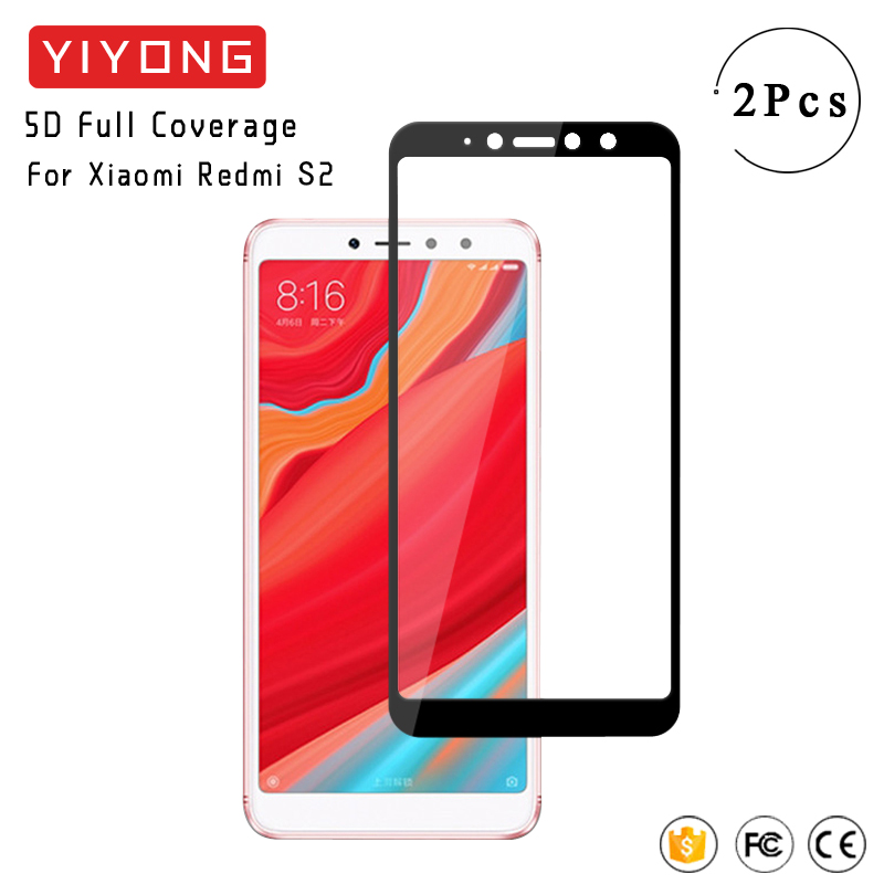 YIYONG 5D Full Cover Glass For Xiaomi Redmi S2 Tempered Glass For Xiomi Redmi Y2 Screen Protector Film For Xiaomi S2 Redmi Glass