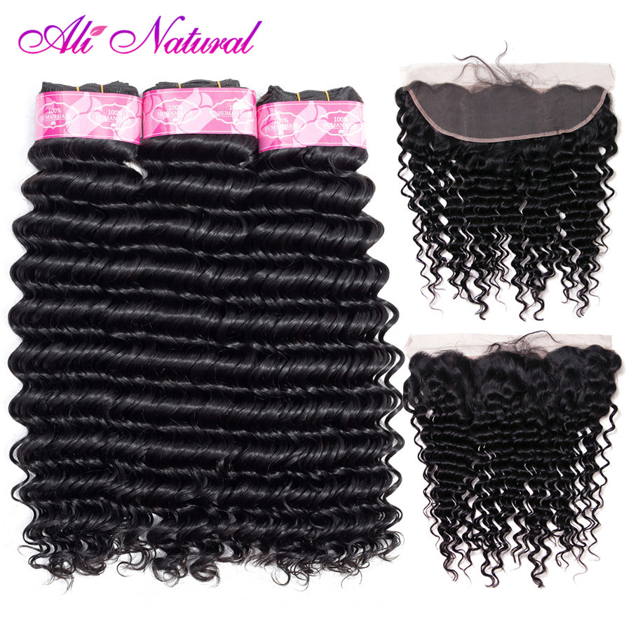 Ali Natural Deep Wave Bundles With Frontal 13x4 Lace Swiss Closures Peruvian Remy human Hair with Frontal Hair Extension