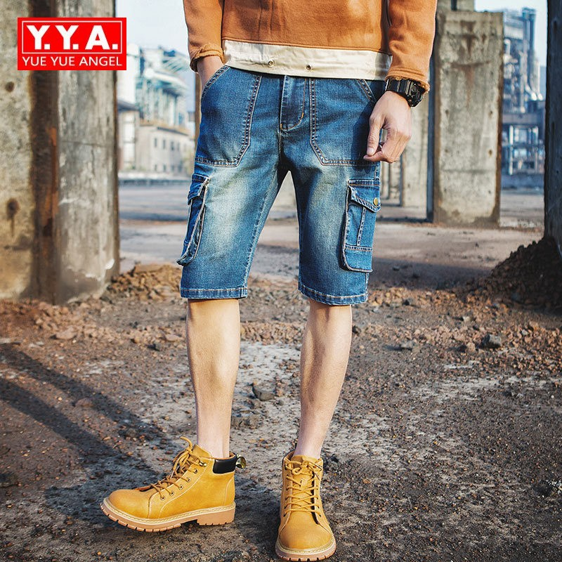 2018 Summer New Casual Shorts Jeans Men Washed Straight Leg Mid Waist Blue Cargo Short Pants Denim Overalls Men Plus Size 40