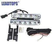 New 2PCS Super White 5 LED Universal Car Light Daytime Running Auto Light DRL Auxiliary Lamp