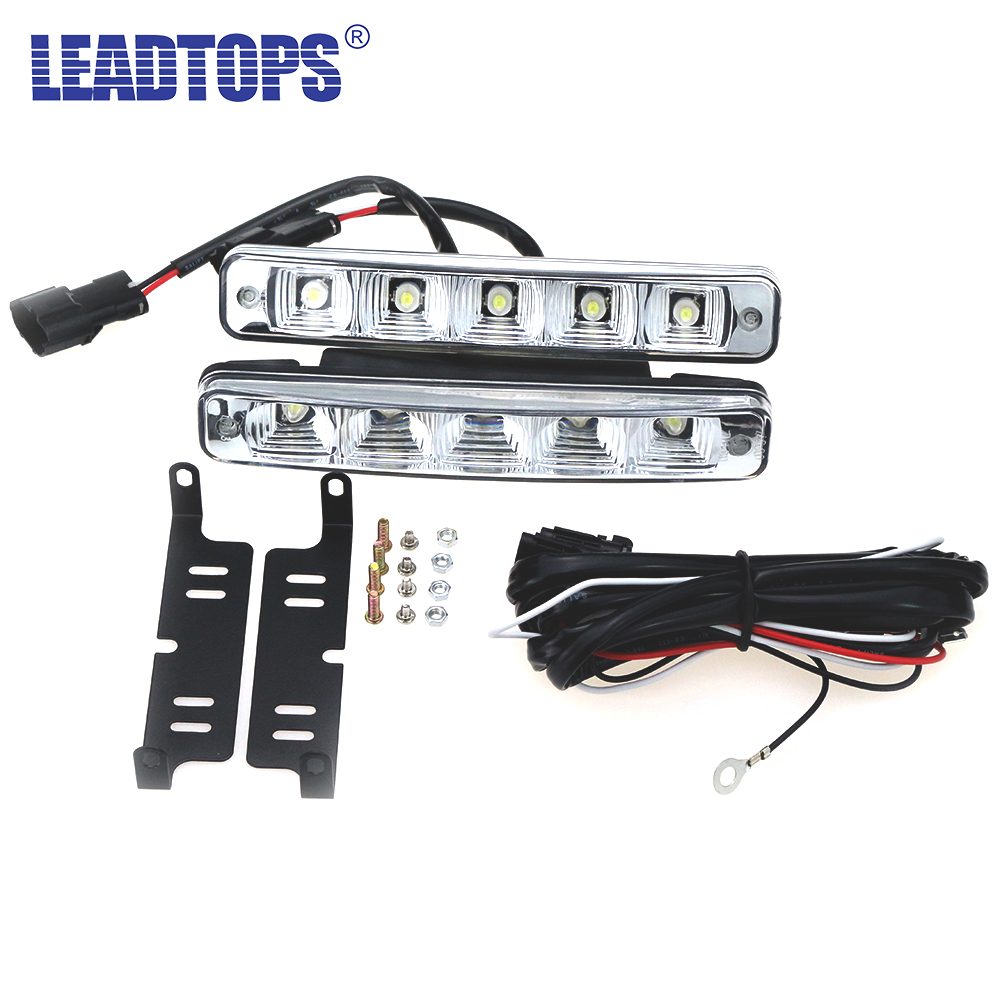 1Pair Super Daytime Running Lights On The Car Light Universal 5 LED DRL Auto White Auxiliary Lamp In The Day Light For Mazda AJ 6 led white ip68 day running light for benz e series pair