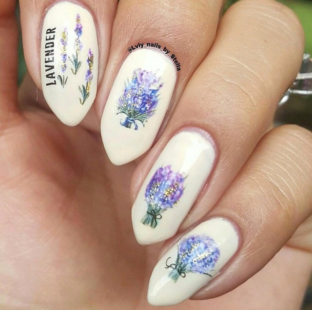Lavender Flower Nail sticker Water Decals Purple Blooming Flower ...