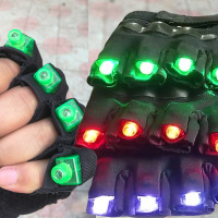 1Pair LED Gloves Light Multi point Performance Accessories LED Luminous Gloves Nightclub Fluorescent Props
