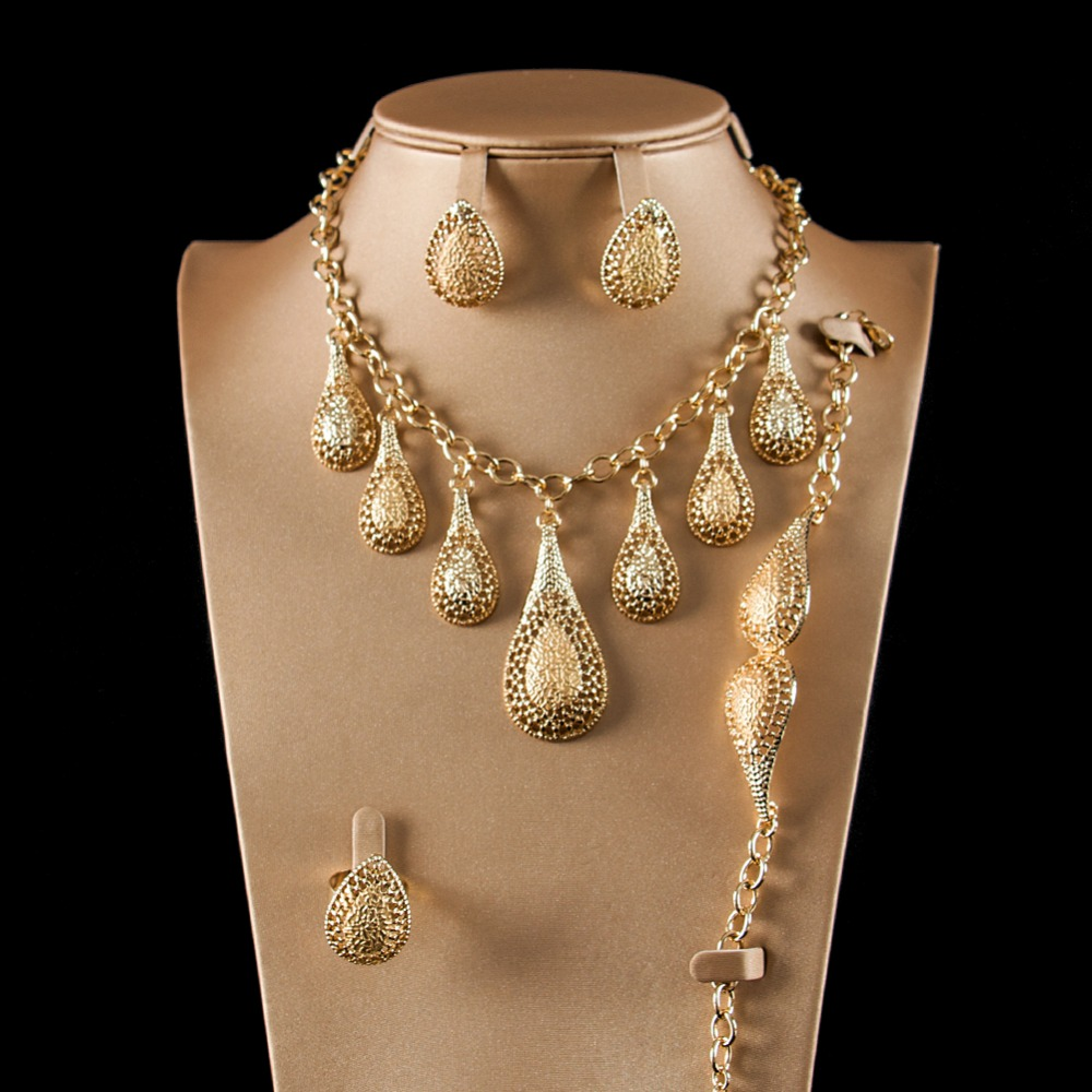 LAN PALACE new arrivals african crystal beads jewelry sets for bride gold earrings necklace ring bracelet free shipping