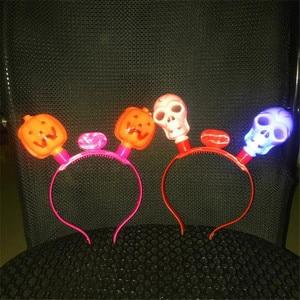 10pcs/lot Pumpkin Skull headband Led toys for Halloween Christmas surprise Funny toy Dress up on head