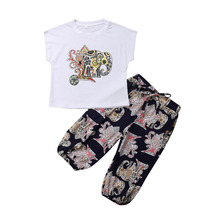 2Pcs Newborn Kids Baby Girls Elephant T-Shirt Short Sleeve Tops Half Pants Summer Loose Clothes Set Outfits 2019