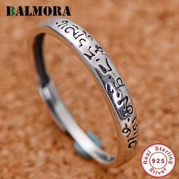 BALMORA de plata de ley 925 seis palabra Sutra Anillos abiertos para los hombres y las mujeres (faramita Simple anillo de joyería de moda Anillos JWR055027