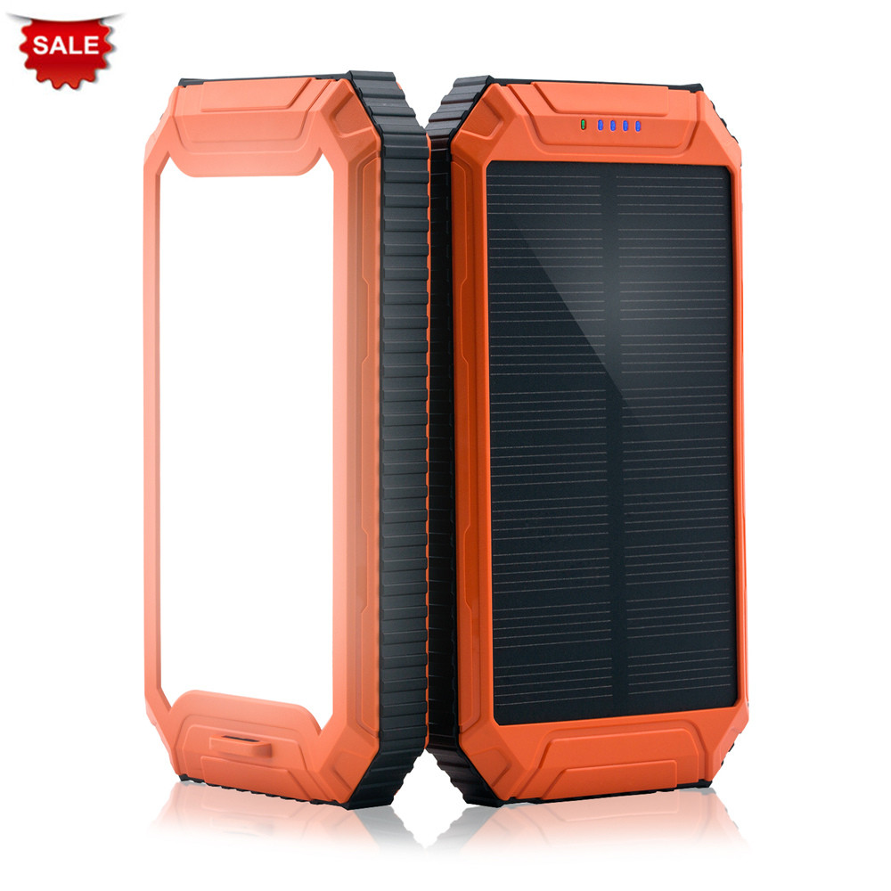 PowerGreen External Battery Supply Powerful LED Light Solar Charger 10000mAh Solar Battery Power Bank for Cell Phone