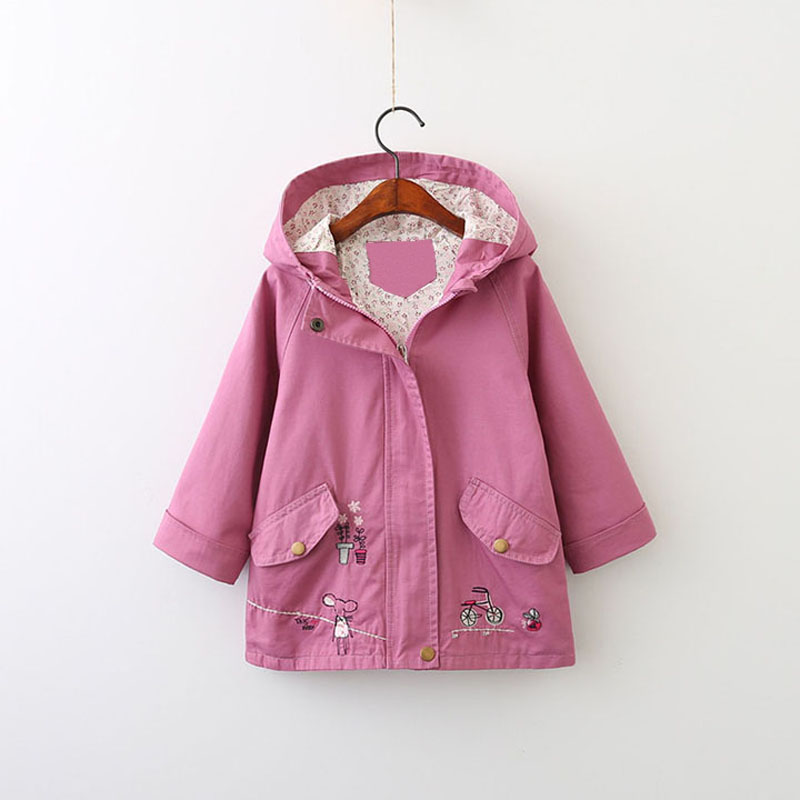 Kids Jackets Brand Girls Coats New Spring Autumn  Leisure Style Embroidery Pattern With A Hat Long-Sleeved Girls Windbreaker